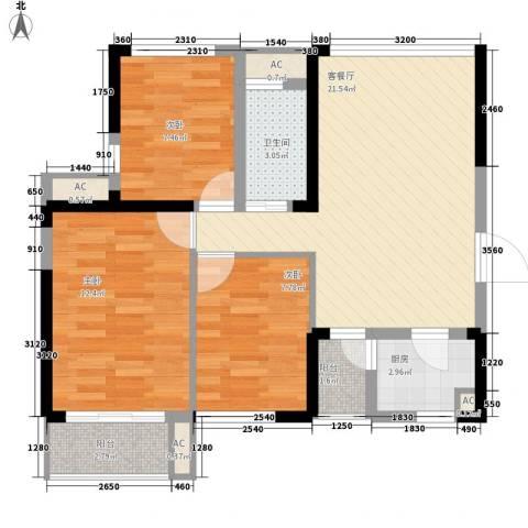融科九重锦3室1厅1卫1厨90.00㎡户型图