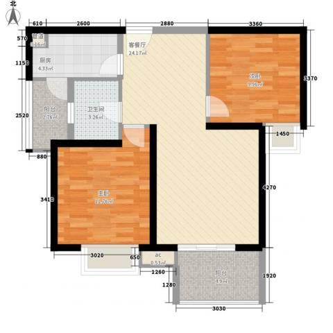 中海观园2室1厅1卫1厨89.00㎡户型图