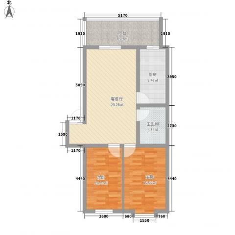 富江家园2室1厅1卫1厨64.71㎡户型图