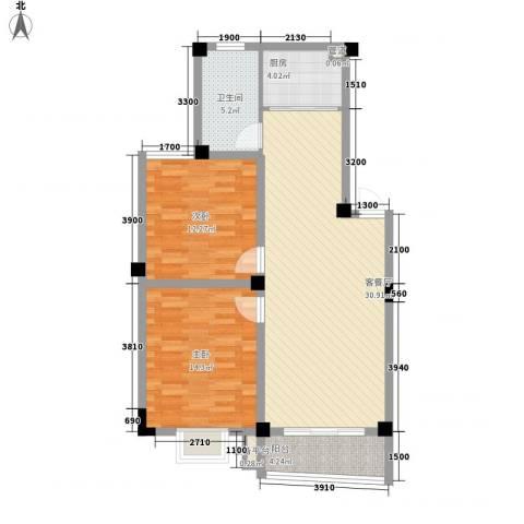 扬子佳竹苑2室1厅1卫1厨102.00㎡户型图