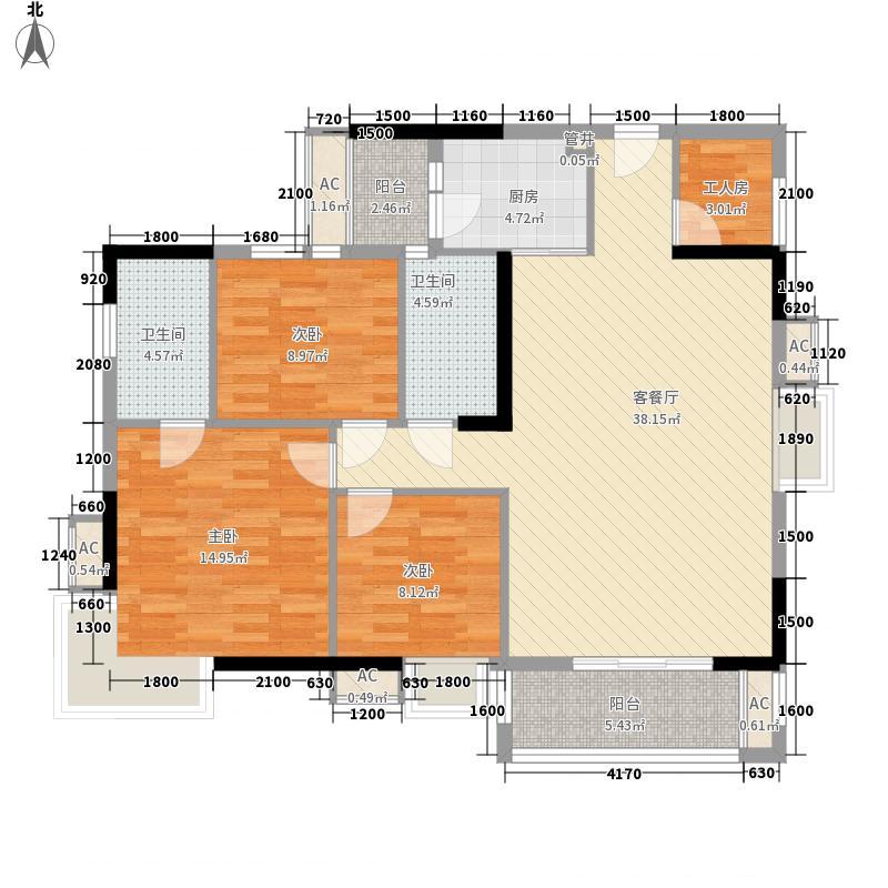 兆安现代城13.00㎡49#、50#、54#、55#H户型4室2厅2卫1厨