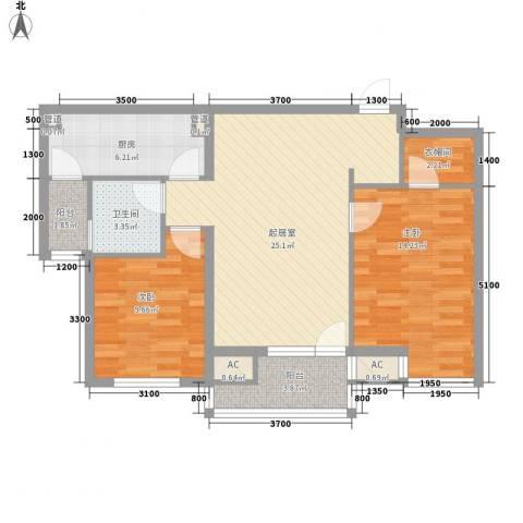 618研究所2室0厅1卫1厨75.00㎡户型图