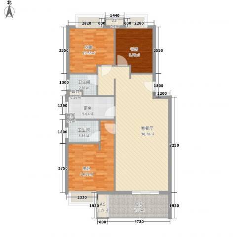 万科临湖轩3室1厅2卫1厨103.56㎡户型图