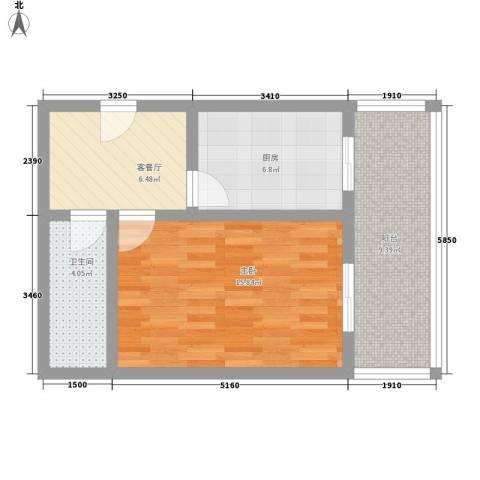 富江家园1室1厅1卫1厨42.56㎡户型图