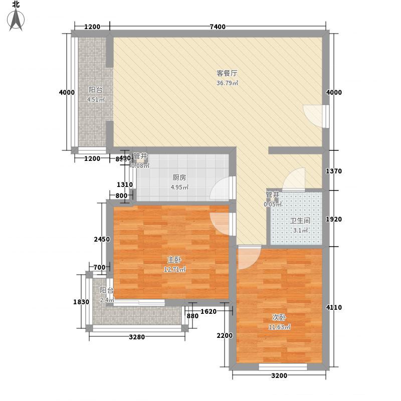 奥林匹克花园1.68㎡18层Hb户型2室2厅1卫