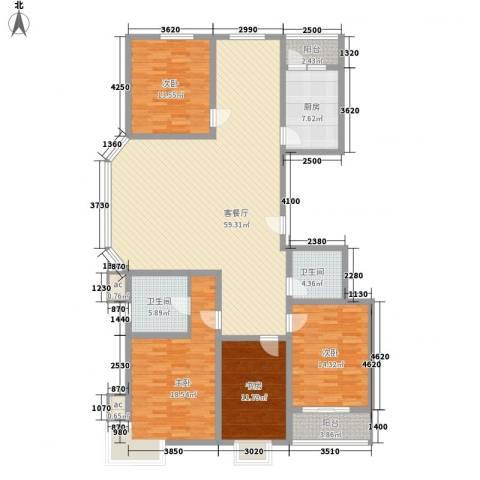 银海水韵4室1厅2卫1厨202.00㎡户型图