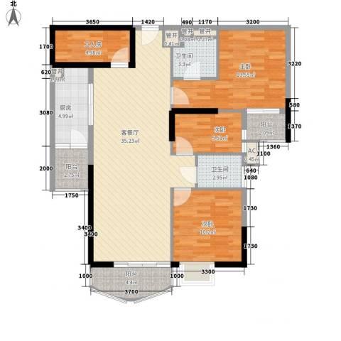 东方国际星座3室1厅2卫1厨116.00㎡户型图