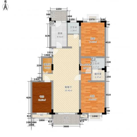 天福园3室1厅2卫1厨144.00㎡户型图