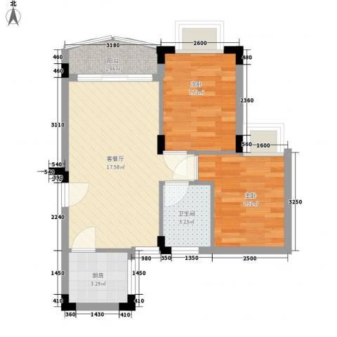 爱都花园2室1厅1卫1厨78.00㎡户型图