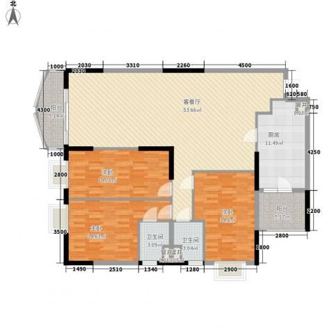 东方国际星座3室1厅2卫1厨167.00㎡户型图