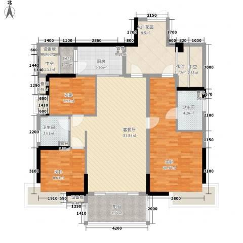 万科金域蓝湾3室1厅2卫1厨125.09㎡户型图