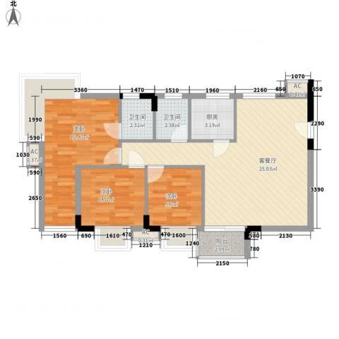 滨江绿园3室1厅2卫1厨88.00㎡户型图