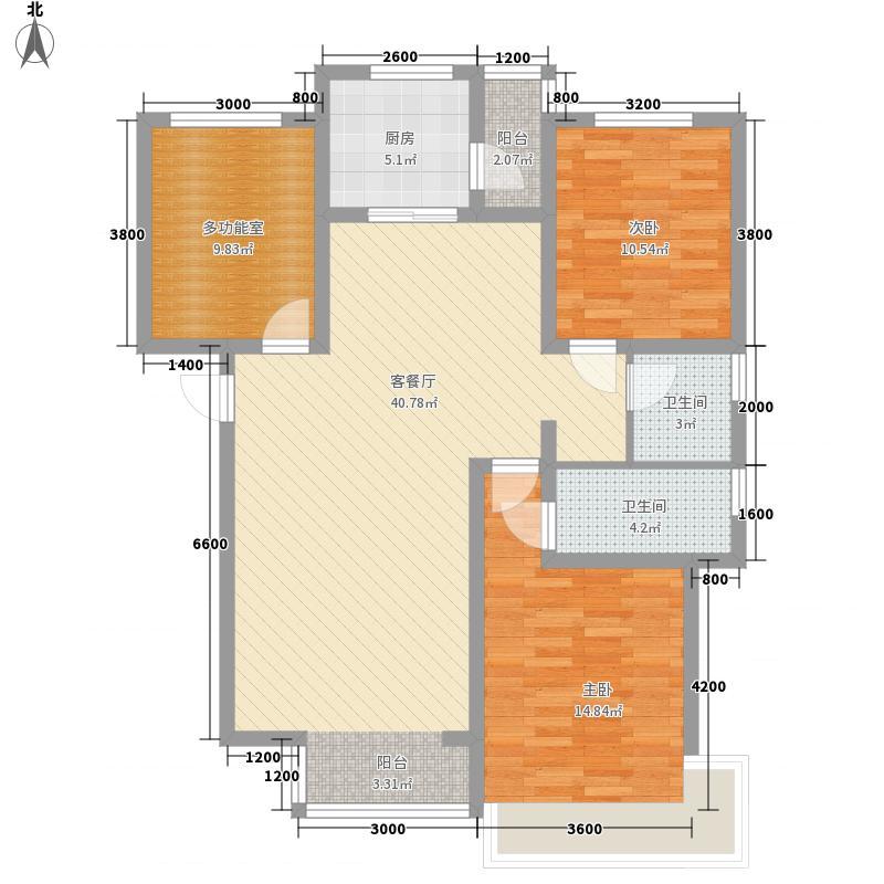 奥林匹克花园13.45㎡9层D户型3室2厅2卫