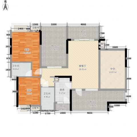 万科金域蓝湾2室1厅2卫1厨133.36㎡户型图