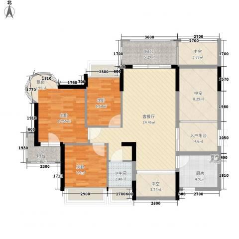 香缤雅苑3室1厅1卫1厨88.00㎡户型图
