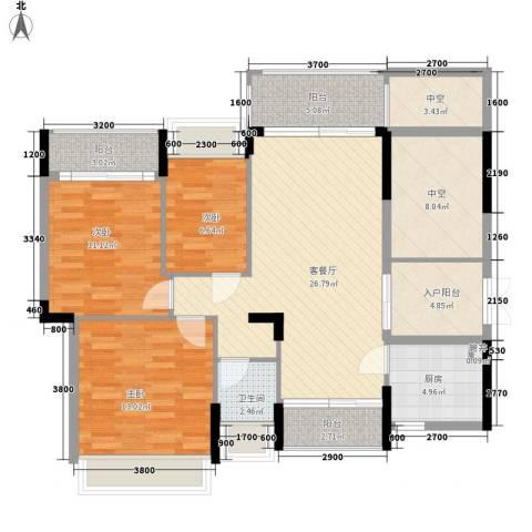 香缤雅苑3室1厅1卫1厨100.00㎡户型图