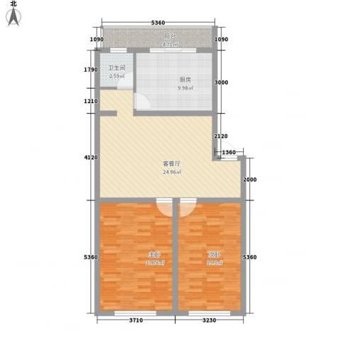 世代锦绣园2室1厅1卫1厨107.00㎡户型图
