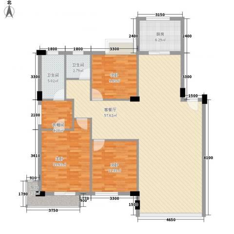 幸福E家二期3室1厅2卫1厨140.00㎡户型图