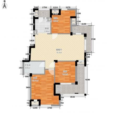东鼎世纪3室1厅1卫0厨119.00㎡户型图