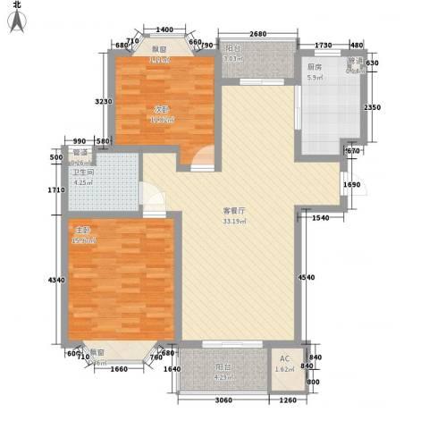 东鼎世纪2室1厅1卫1厨115.00㎡户型图