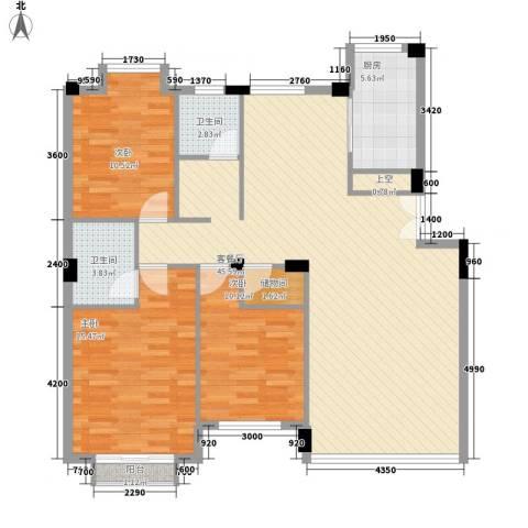 幸福E家二期3室1厅2卫1厨124.00㎡户型图