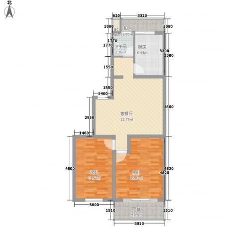 世代锦绣园2室1厅1卫1厨97.00㎡户型图