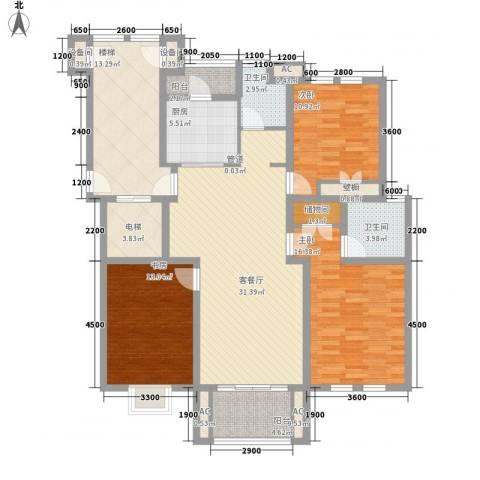 市府小区宿舍3室1厅2卫1厨275.00㎡户型图