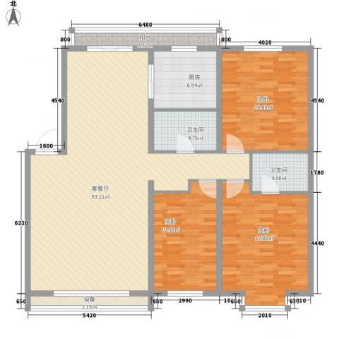 富江家园3室1厅2卫1厨121.29㎡户型图