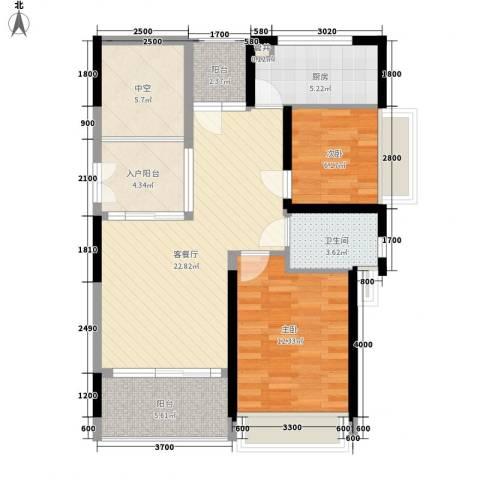 香缤雅苑2室1厅1卫1厨86.00㎡户型图
