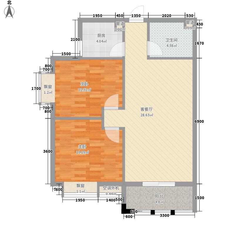 福晟滨江国际89.34㎡13号楼M2户型