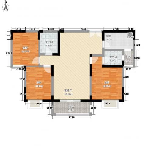 新兴骏景园二期3室1厅2卫1厨113.00㎡户型图