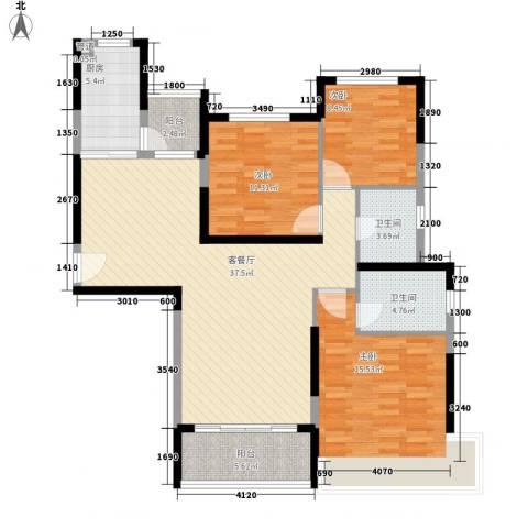 南昌恒大名都3室1厅2卫1厨135.00㎡户型图