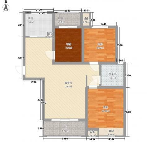 中国铁建・明山秀水3室1厅1卫1厨111.00㎡户型图