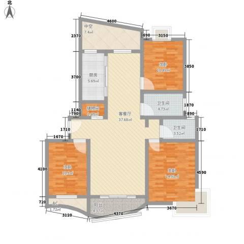 金梅雅苑3室1厅2卫1厨139.00㎡户型图