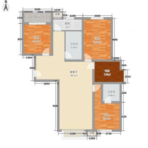 同心花园4室1厅2卫1厨144.00㎡户型图