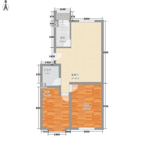 美印溪谷别墅2室1厅1卫1厨85.00㎡户型图