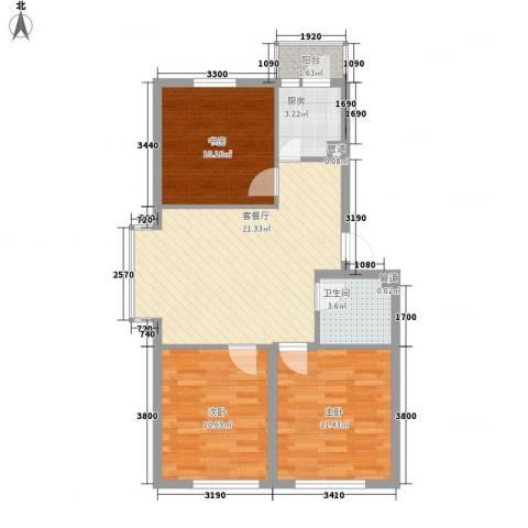 美印溪谷别墅3室1厅1卫1厨88.00㎡户型图