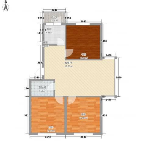美印溪谷别墅3室1厅1卫1厨104.00㎡户型图