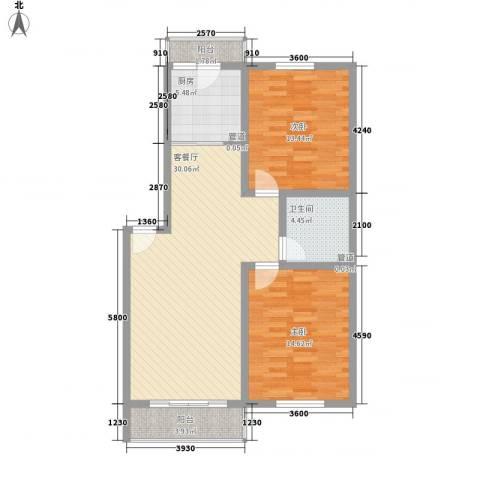 美印溪谷别墅2室1厅1卫1厨106.00㎡户型图