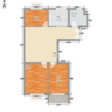东方瑞景3室1厅1卫1厨108.00㎡户型图