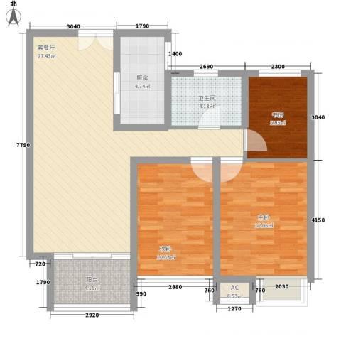 奥林匹克花园别墅3室1厅1卫1厨101.00㎡户型图