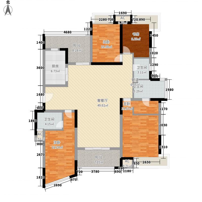 御城200.00㎡80#楼01室户型4室2厅3卫1厨