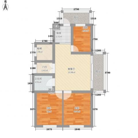 日出印象茗苑3室1厅1卫1厨60.00㎡户型图