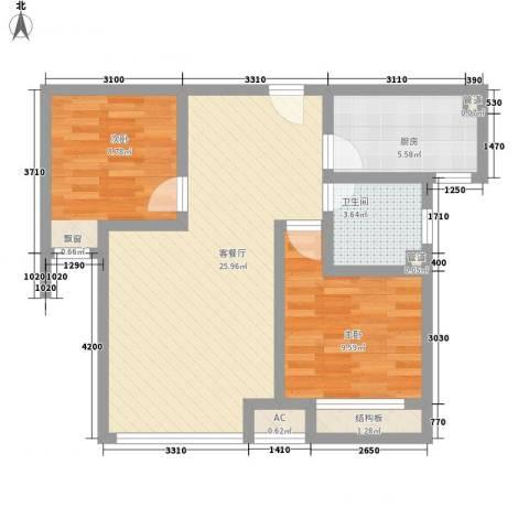 北环盛世2室1厅1卫1厨80.00㎡户型图