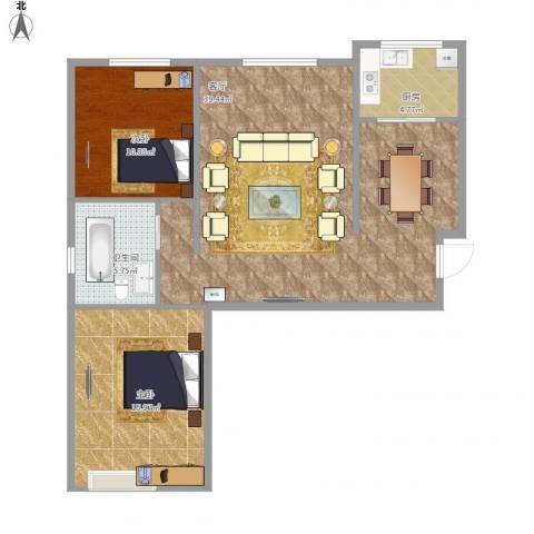 华北星城2室1厅1卫1厨105.00㎡户型图