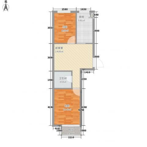 友兰园丁园2室0厅1卫1厨64.00㎡户型图