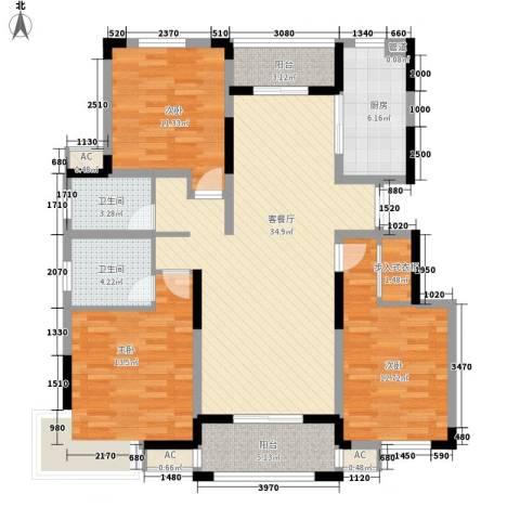 浦发领秀城3室1厅2卫1厨142.00㎡户型图