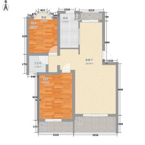 阳光苑(曹路)2室1厅1卫1厨95.00㎡户型图