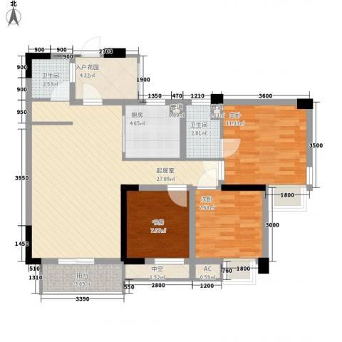 南晶国际南庭3室0厅2卫1厨83.00㎡户型图