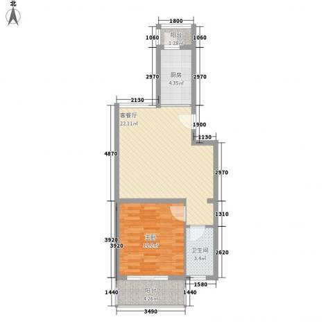 白河涧别墅1室1厅1卫1厨63.00㎡户型图